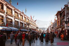 Pilgrims walking in Barkhor, Lhasa, Tibet