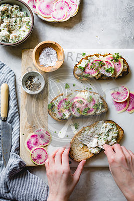 Watermelon Radish White Bean Tartines