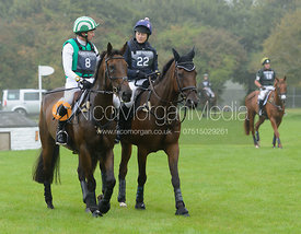 Michael Ryan (THE HIGHLAND PRINCE) and Sara Squires (ORTO) - cross country phase,  Land Rover Burghley Horse Trials, 6th September 2014.