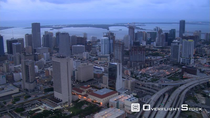 Slow flight over Miami, Florida, at dusk.