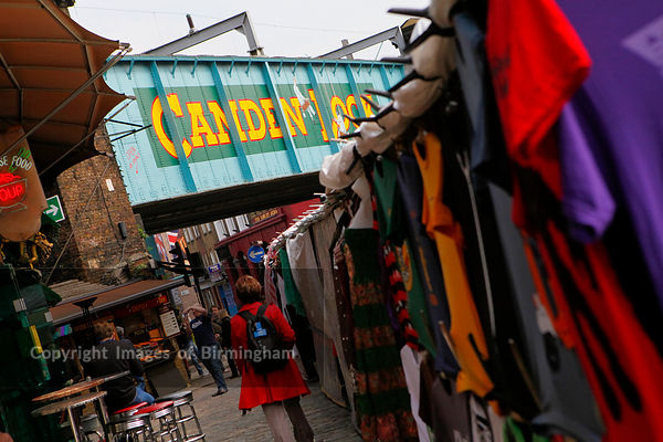 Camden Lock Market. Clothes on stalls.