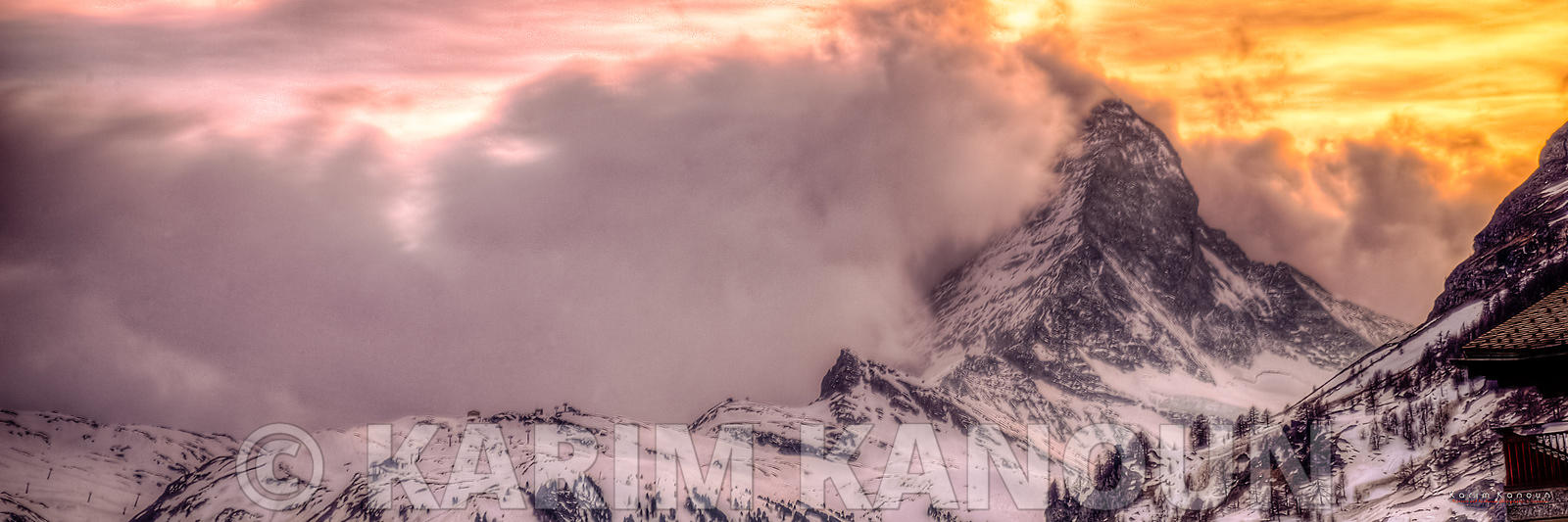 Panorama - The Matterhorn with a volcano style sunset - Zermatt