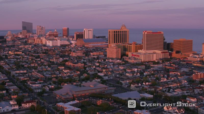 Atlantic City, New Jersey Aerial view of Atlantic City in evening sunlight.  Shot with Cineflex and RED EpicW Helium.