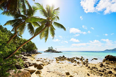 Little granite Mouse island (Ile Souris), Anse Royal beach, island of Mahe, Seychelles, Indian Ocean