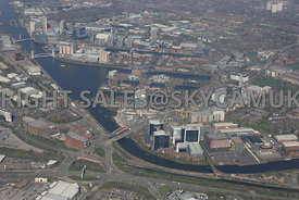Manchester high level view of White City Circle and Exchange Quay and Salford Quays Salford