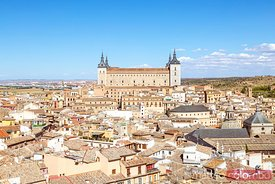 High angle city view, with the Alcazar, Toledo, Spain