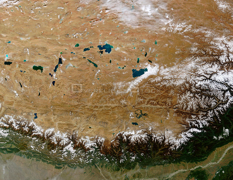 EARTH Great Himalayan Range / Tibetan Plateau -- 28 Dec 2002 -- The Himalayan Mountain Range runs a curving path from west to east in this true-color Terra MODIS image