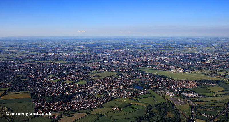 wide angle panoramic aerial photograph of York