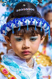 Portrait of little girl dressed up for Shin Byu Ceremony, Mandalay
