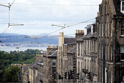 View Along the Tenament Buildings in Dublin Street showing the new Overhead Tram Lines Toward the Water of Leith river