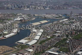 East Float Cavendish dock and Vittoria dock looking towards the Ferry and Freight Terminal Birkenhead