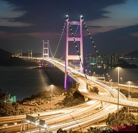 Tsing ma bridge at night, Hong Kong