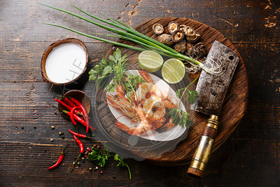Ingredients for spicy Thai soup Tom Yam with Coconut milk, Mushroom and Shrimp