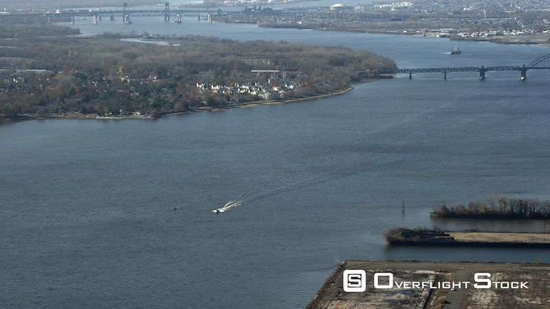 Aerial View of the Delaware River at the Tacony Palmyra Bridge Between Pennsylvania and New Jersey.