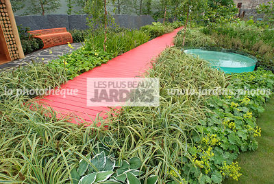 Border, Contemporary garden, Green, Lady's mantle, Monochrome, Perennial, Red, Single color, Single colour, Wooden footbridge, Digital, Grasses, Ornamental foliage, Path, Scenery, Variegated