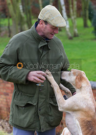 A foot follower is greeted by a Cottesmore foxhound