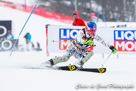 La Slovaque Veronika Velez Zuzulova en train de réaliser la 3eme place du final du Slalom dames.