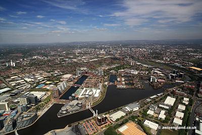 aerial photograph of Salford Quays  Greater Manchester England UK