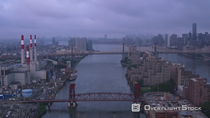 New York City Flying down East River approaching Queensboro Bridge at sunrise.  Shot with Cineflex and RED EpicW Helium.