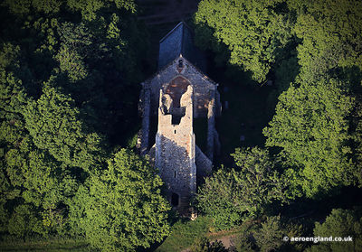 aerial photograph of St. Peter & St. Paul's Church ruin Tunstall Norfolk.