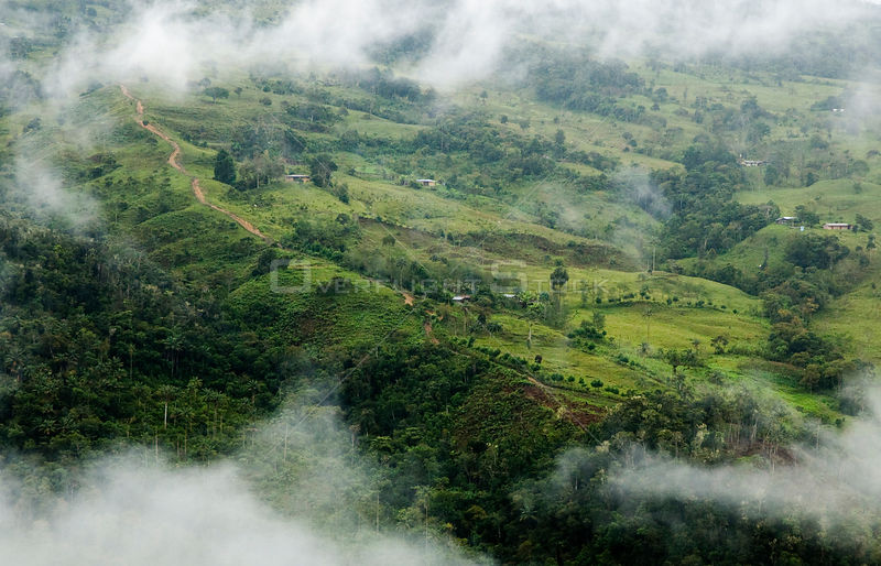 Aerial view of cloud forest cleared for pasture near to populations of Yellow-tailed woolly monkeys, Alto Mayo, Amazonas, Peru, June 2008