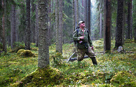 Hunter in forest