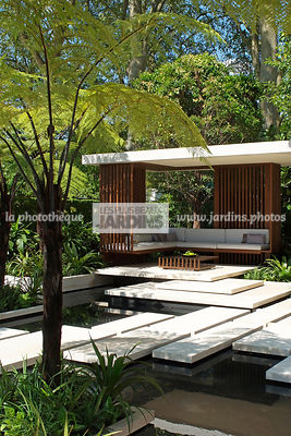 Aquatic garden, Asiatic garden, Contemporary furniture, Contemporary garden, Exotic garden, Garden construction, Garden furniture, Resting area, Terrace, Tropical garden, Water garden, Contemporary Terrace, Malaysian garden, Tree Fern