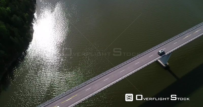 Cars, Archipelago Bridge, Aerial Downward View Above a Vehicle Driving Over a Bridge, Sunny Summer Day, Kemionsaari, Finland