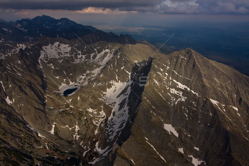 Aerial view of the northern slope of Mount Krivàn (2,495m) High Tatras, Carpathian Mountains, Slovakia, June 2009