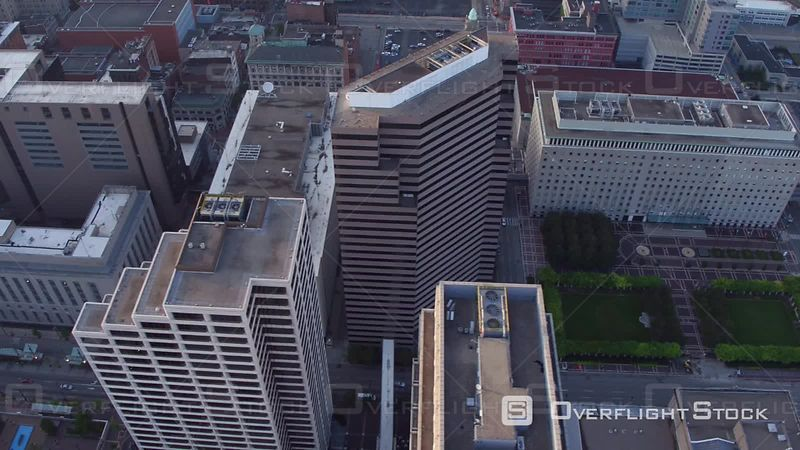 Overhead Aerial Footage of Buildings in Cincinnati, Ohio