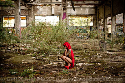 Nude inked little red riding hood in urbex