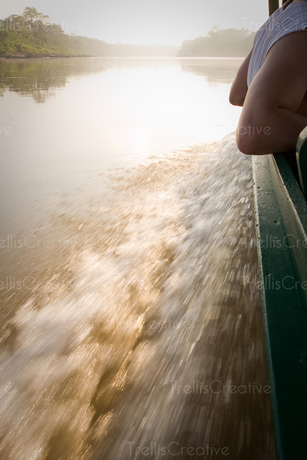 Leaning over the side of a motorized canoe along the Tambopata river in Amazonia