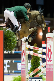 Bordeaux, France, 3.2.2018, Sport, Reitsport, Jumping International de Bordeaux - Prix HOTEL BURDIGALA .Trophée BORDEAUX METROPOLE. Bild zeigt Mark MCAULEY (IRL) riding Valentino Tuiliere (5*)...3/02/18, Bordeaux, France, Sport, Equestrian sport Jumping International de Bordeaux - Prix HOTEL BURDIGALA .Trophée BORDEAUX METROPOLE. Image shows Mark MCAULEY (IRL) riding Valentino Tuiliere (5*).