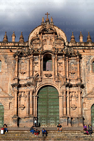 Main entrance facade of cathedral, Cusco, Peru