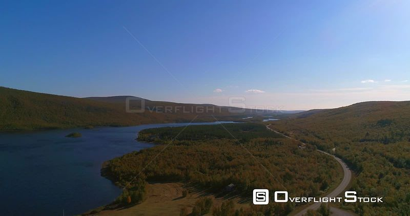 Arctic Church, Aerial 160 Degree Pan View of Mountains and Mantojarvi Lake , in Autumn Colors Lapland, on a Sunny Autumn Day, in Utsjoki, Lappi, Finland