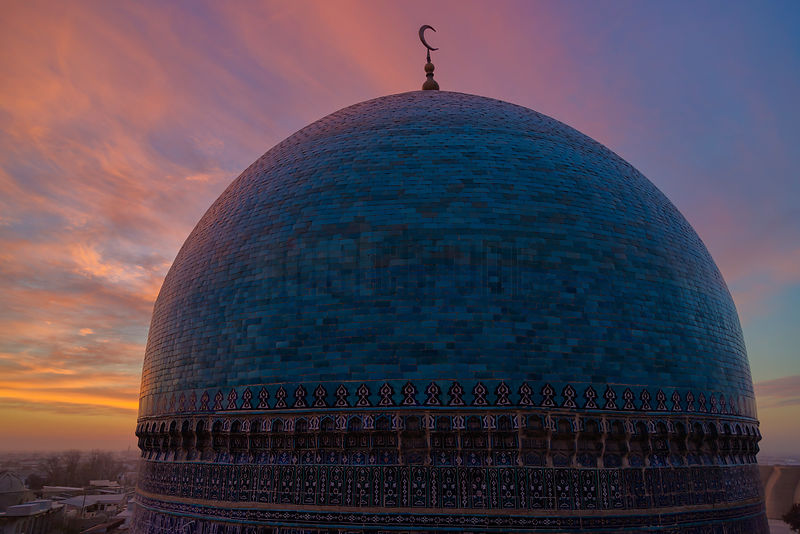 Elevated View of the Dome of the Kalaion Mosque at Dusk