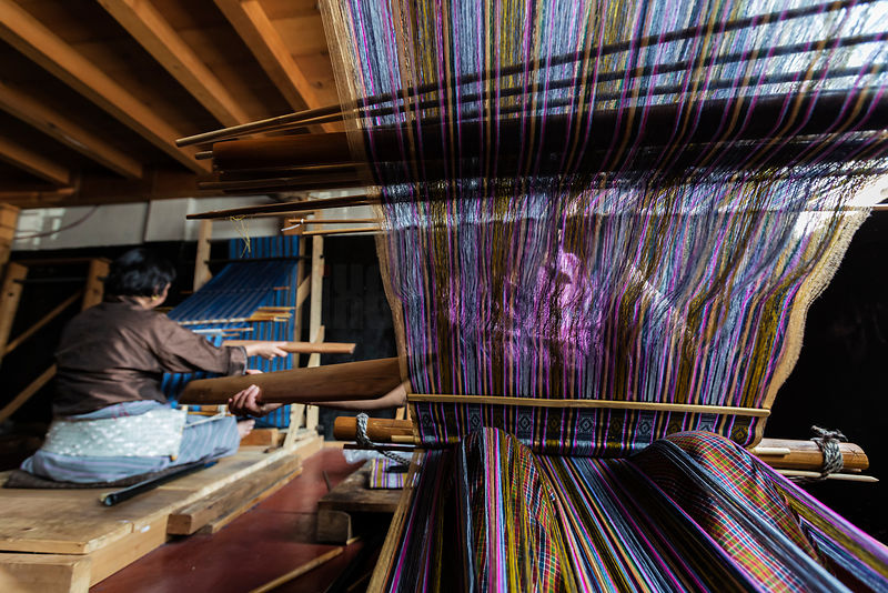 Women Weaving with Traditional Back Strap Looms
