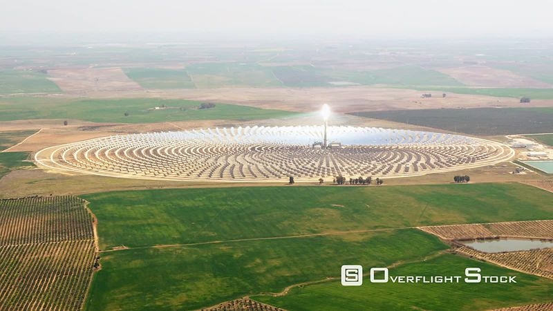 Aerial View of Heliostat Solarthermal Power Plant, Spain