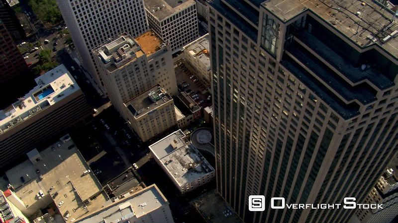 Steep aerial view of downtown New Orleans.