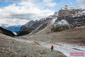 Hiker, Valley of the Six glaciers, Lake Louise, Canada