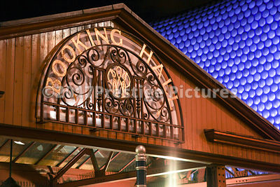 Booking Hall Sign at Night