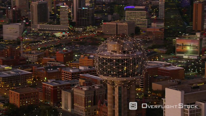 Dallas, Texas Aerial view of Dallas and Reunion Tower at dusk