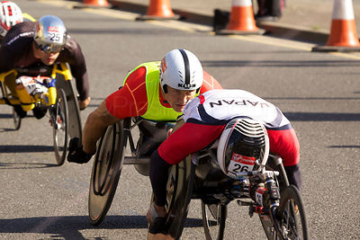 David Weir  (2nd) from Great Britain racing at The 2014 Virgin London Marathon