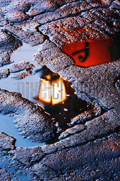 Street Lamp Reflected in puddle San Miguel de Allende Mexico