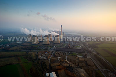 Aerial view of Drax Power Station, North Yorkshire, United Kingdom