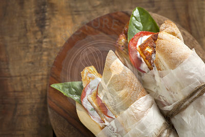 baguette sandwiches with cheese and tomatoes