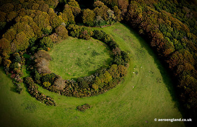 aerial photograph of  Prideaux Ironage Hillfort near St Austell  Cornwall England UK