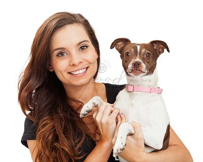 Pretty and Happy Girl With Chihuahua Dog