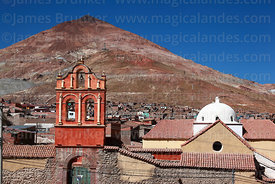 San Sebastian church with Cerro Rico in background, Potosí, Bolivia