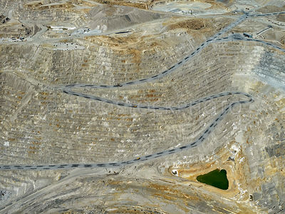 Hard rock mining, Open pit copper mine,  Sierrita Mine, Pima County, Arizona, USA